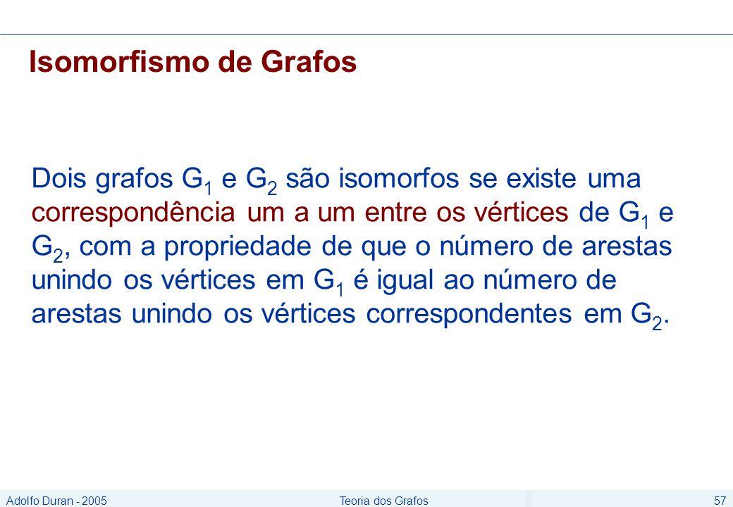 Adolfo Duran - 2005Teoria dos Grafos57 Isomorfismo de Grafos Dois grafos G 1 e G 2 são isomorfos se existe uma correspondência um a um entre os vértices de G 1 e G 2, com a propriedade de que o número de arestas unindo os vértices em G 1 é igual ao número de arestas unindo os vértices correspondentes em G 2.