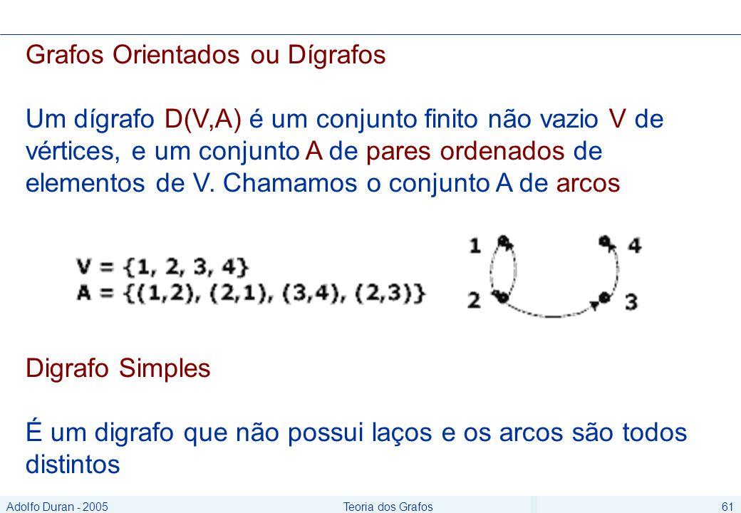 Adolfo Duran - 2005Teoria dos Grafos61 Grafos Orientados ou Dígrafos Um dígrafo D(V,A) é um conjunto finito não vazio V de vértices, e um conjunto A de pares ordenados de elementos de V.