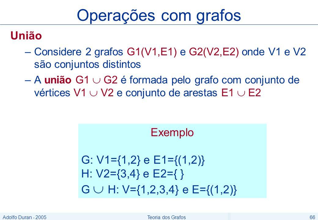 Adolfo Duran - 2005Teoria dos Grafos66 União –Considere 2 grafos G1(V1,E1) e G2(V2,E2) onde V1 e V2 são conjuntos distintos –A união G1 G2 é formada pelo grafo com conjunto de vértices V1 V2 e conjunto de arestas E1 E2 Operações com grafos Exemplo G: V1={1,2} e E1={(1,2)} H: V2={3,4} e E2={ } G H: V={1,2,3,4} e E={(1,2)}