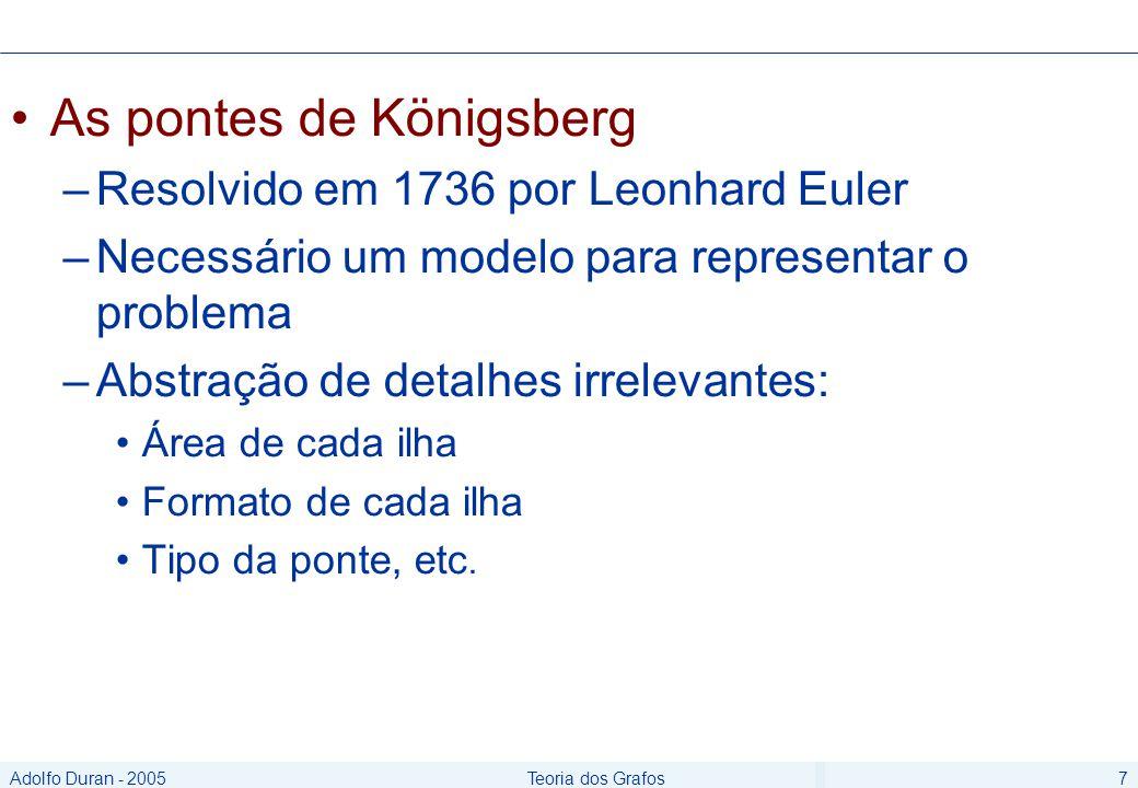 Adolfo Duran - 2005Teoria dos Grafos7 As pontes de Königsberg –Resolvido em 1736 por Leonhard Euler –Necessário um modelo para representar o problema –Abstração de detalhes irrelevantes: Área de cada ilha Formato de cada ilha Tipo da ponte, etc.
