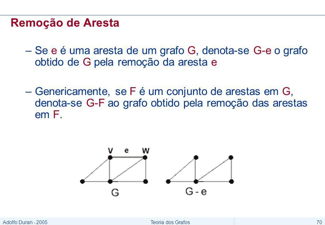 Adolfo Duran - 2005Teoria dos Grafos70 Remoção de Aresta –Se e é uma aresta de um grafo G, denota-se G-e o grafo obtido de G pela remoção da aresta e –Genericamente, se F é um conjunto de arestas em G, denota-se G-F ao grafo obtido pela remoção das arestas em F.