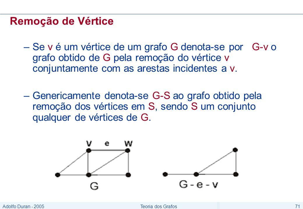 Adolfo Duran - 2005Teoria dos Grafos71 Remoção de Vértice –Se v é um vértice de um grafo G denota-se por G-v o grafo obtido de G pela remoção do vértice v conjuntamente com as arestas incidentes a v.