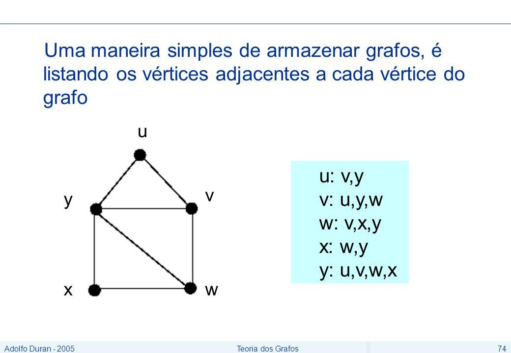 Adolfo Duran - 2005Teoria dos Grafos74 Uma maneira simples de armazenar grafos, é listando os vértices adjacentes a cada vértice do grafo u: v,y v: u,y,w w: v,x,y x: w,y y: u,v,w,x u y v xw