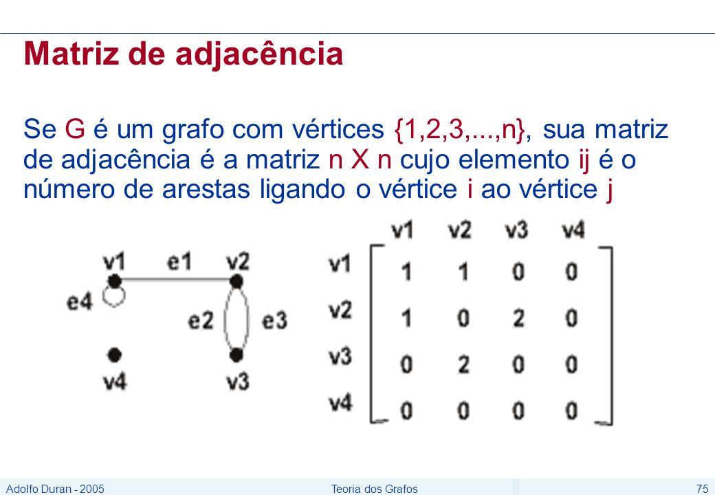 Adolfo Duran - 2005Teoria dos Grafos75 Matriz de adjacência Se G é um grafo com vértices {1,2,3,...,n}, sua matriz de adjacência é a matriz n X n cujo elemento ij é o número de arestas ligando o vértice i ao vértice j
