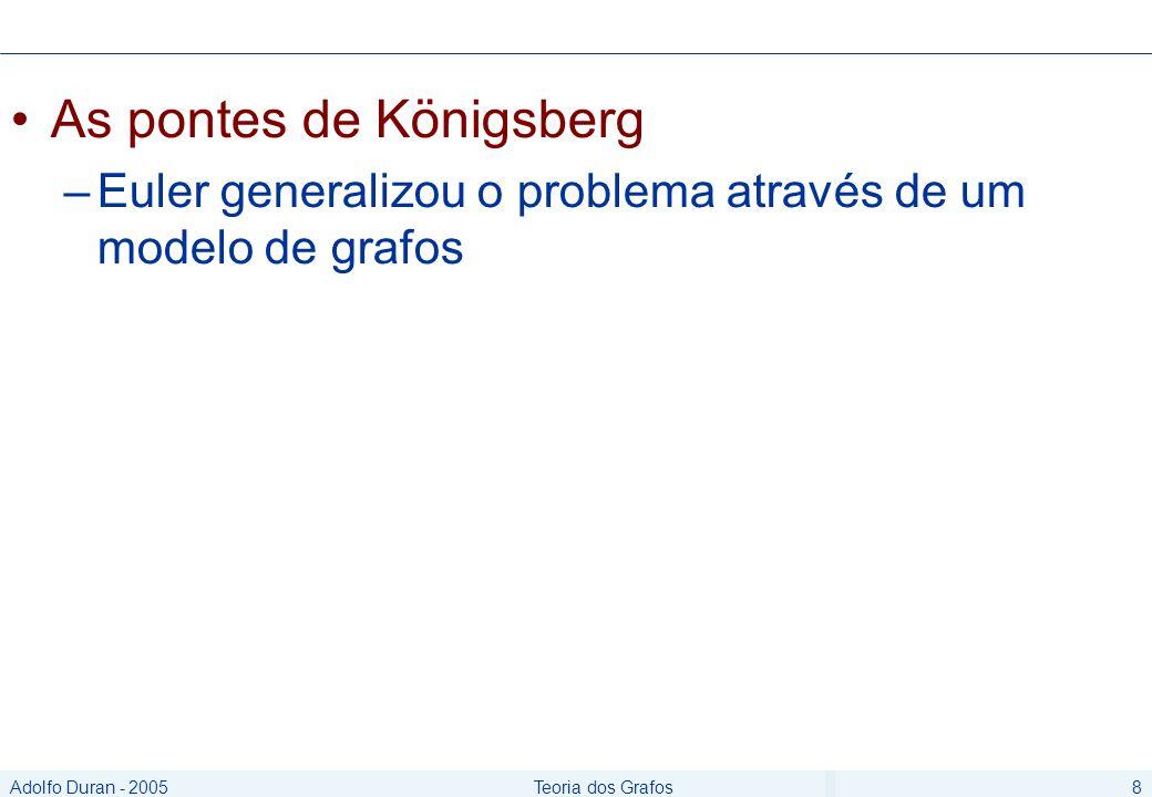 Adolfo Duran - 2005Teoria dos Grafos8 As pontes de Königsberg –Euler generalizou o problema através de um modelo de grafos