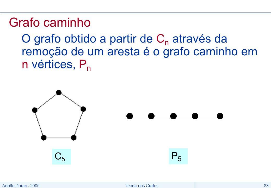 Adolfo Duran - 2005Teoria dos Grafos83 Grafo caminho O grafo obtido a partir de C n através da remoção de um aresta é o grafo caminho em n vértices, P n C5C5 P5P5