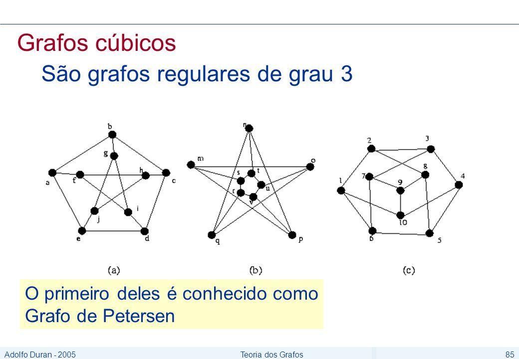 Adolfo Duran - 2005Teoria dos Grafos85 Grafos cúbicos São grafos regulares de grau 3 O primeiro deles é conhecido como Grafo de Petersen