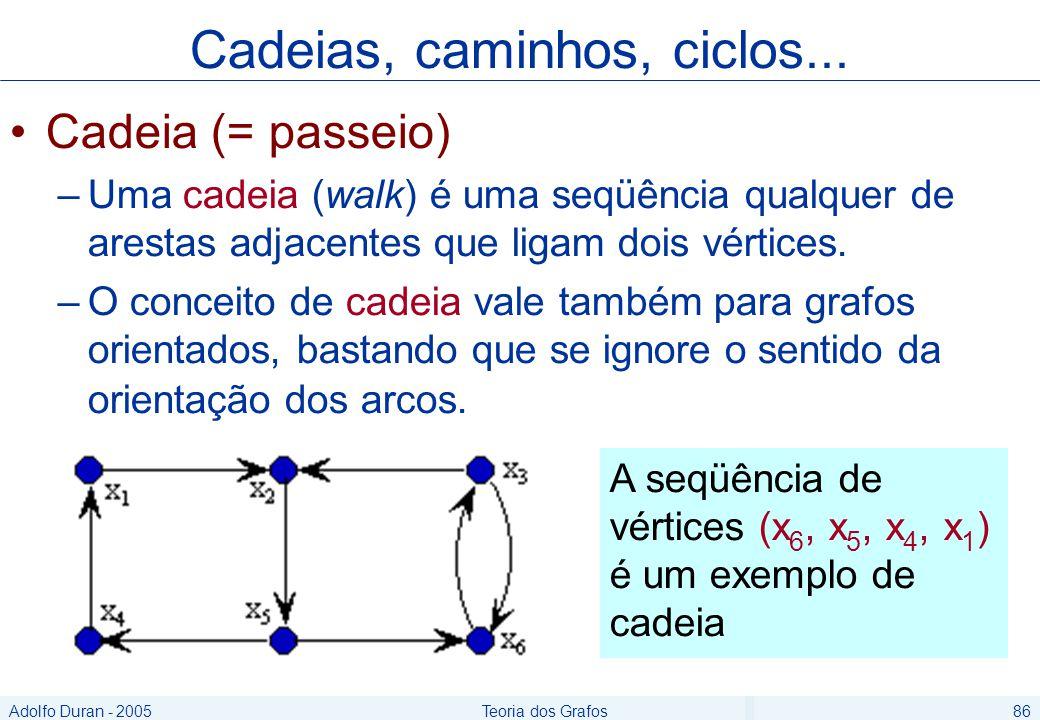 Adolfo Duran - 2005Teoria dos Grafos86 Cadeia (= passeio) –Uma cadeia (walk) é uma seqüência qualquer de arestas adjacentes que ligam dois vértices.