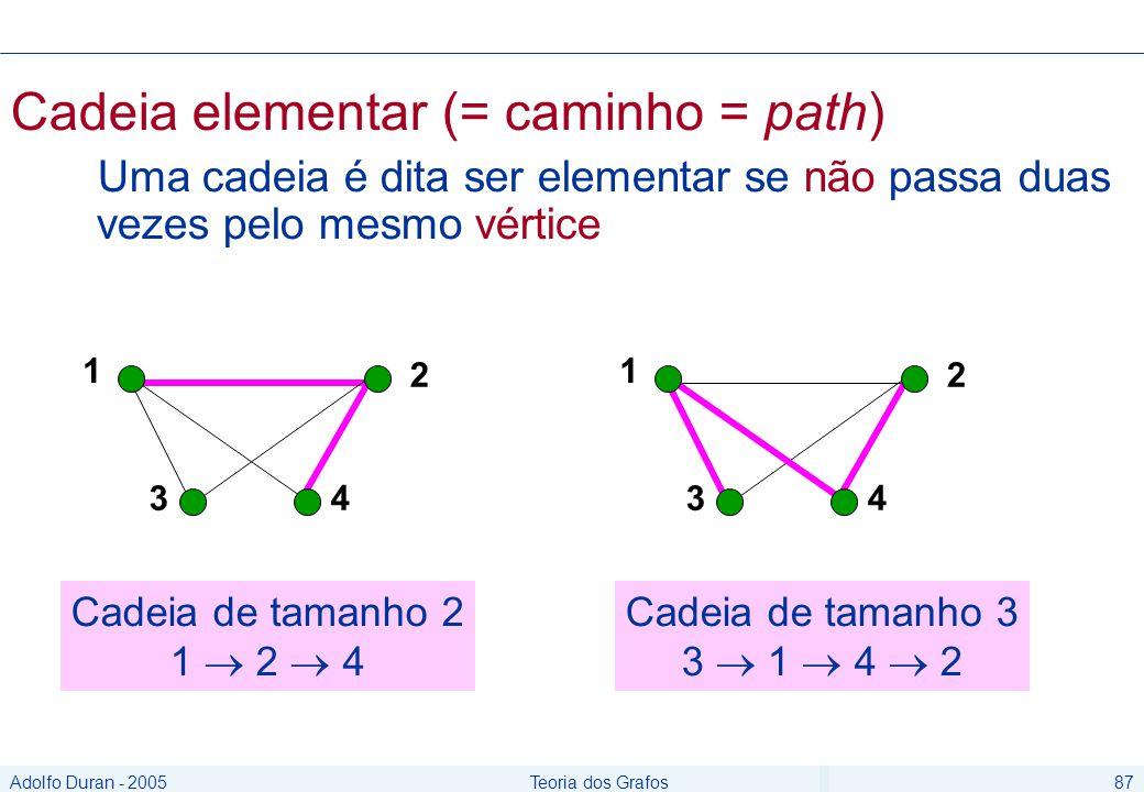 Adolfo Duran - 2005Teoria dos Grafos87 Cadeia elementar (= caminho = path) Uma cadeia é dita ser elementar se não passa duas vezes pelo mesmo vértice 1 2 34 1 2 34 Cadeia de tamanho 2 1 2 4 Cadeia de tamanho 3 3 1 4 2