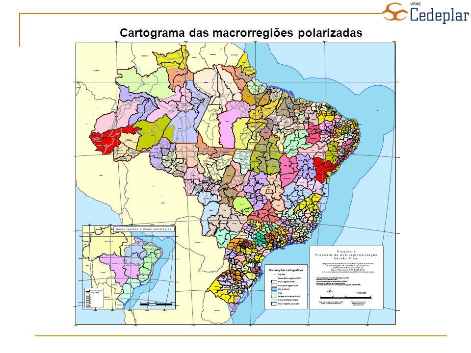 Cartograma das macrorregiões polarizadas