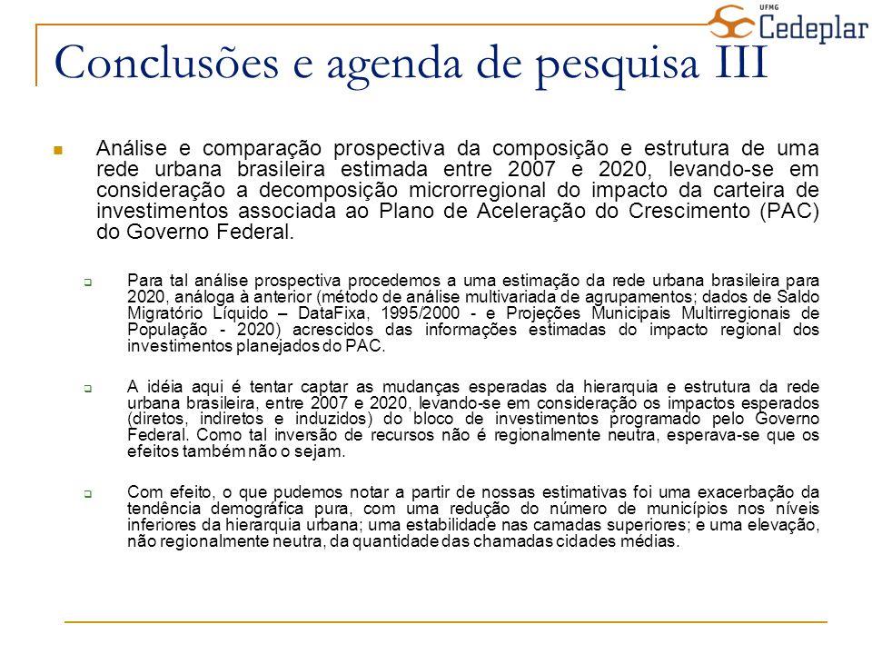 Conclusões e agenda de pesquisa III Análise e comparação prospectiva da composição e estrutura de uma rede urbana brasileira estimada entre 2007 e 202