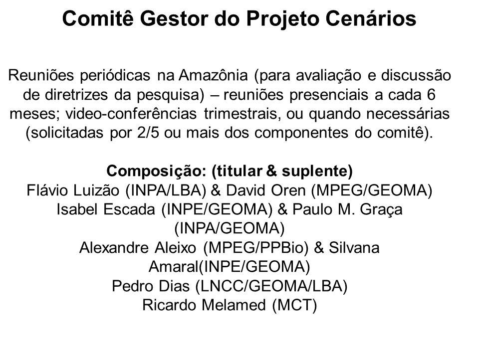 Comitê Gestor do Projeto Cenários Reuniões periódicas na Amazônia (para avaliação e discussão de diretrizes da pesquisa) – reuniões presenciais a cada 6 meses; video-conferências trimestrais, ou quando necessárias (solicitadas por 2/5 ou mais dos componentes do comitê).