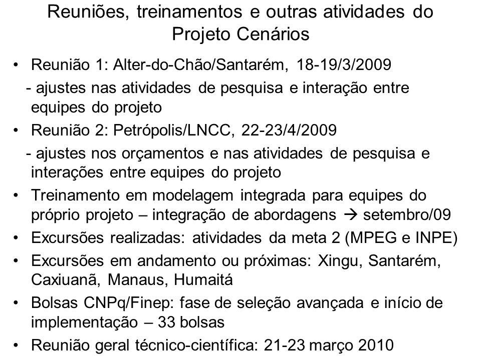 Reuniões, treinamentos e outras atividades do Projeto Cenários Reunião 1: Alter-do-Chão/Santarém, 18-19/3/2009 - ajustes nas atividades de pesquisa e