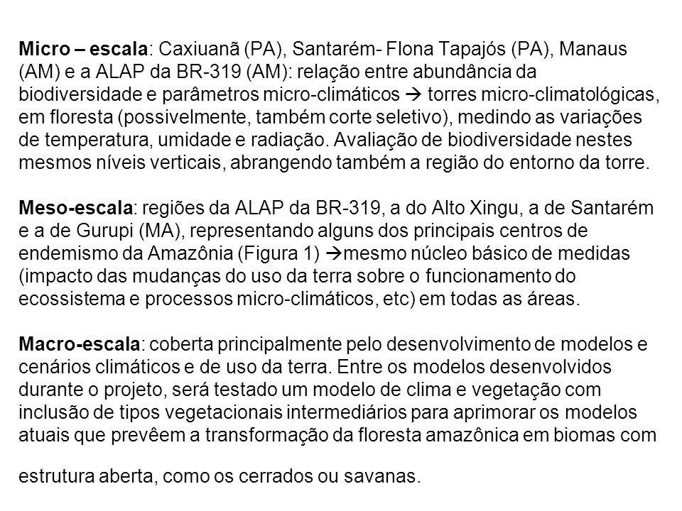 Micro – escala: Caxiuanã (PA), Santarém- Flona Tapajós (PA), Manaus (AM) e a ALAP da BR-319 (AM): relação entre abundância da biodiversidade e parâmet