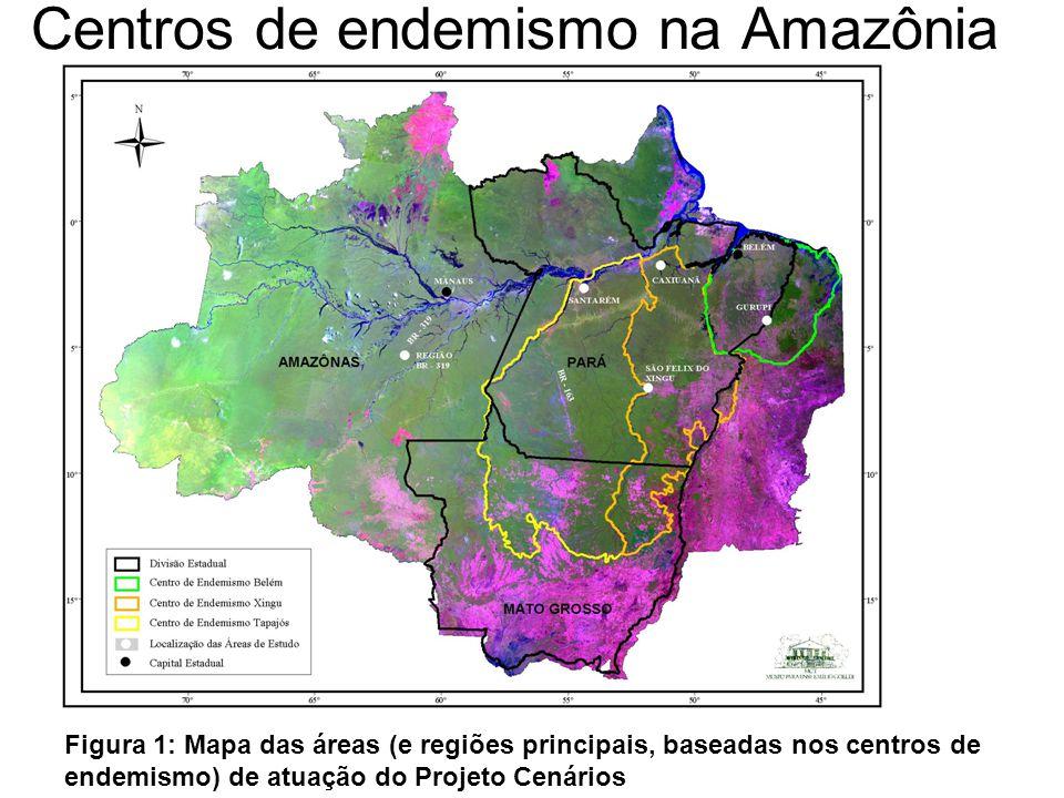 Centros de endemismo na Amazônia Figura 1: Mapa das áreas (e regiões principais, baseadas nos centros de endemismo) de atuação do Projeto Cenários