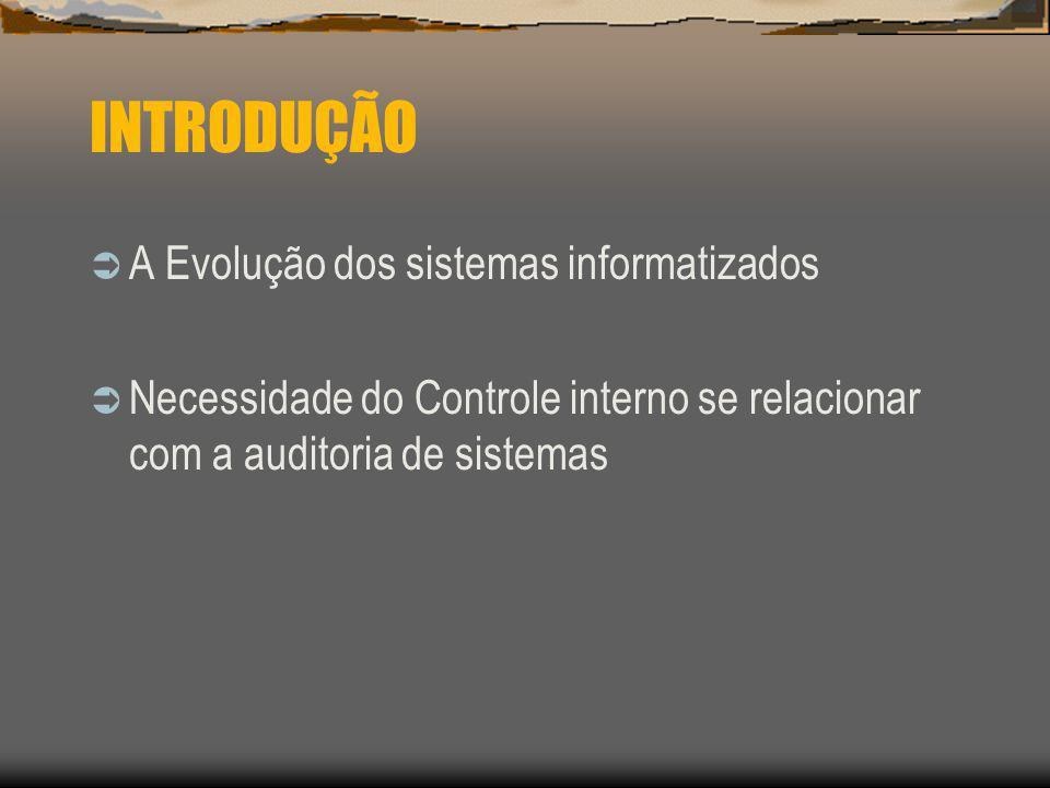 INTRODUÇÃO A Evolução dos sistemas informatizados Necessidade do Controle interno se relacionar com a auditoria de sistemas