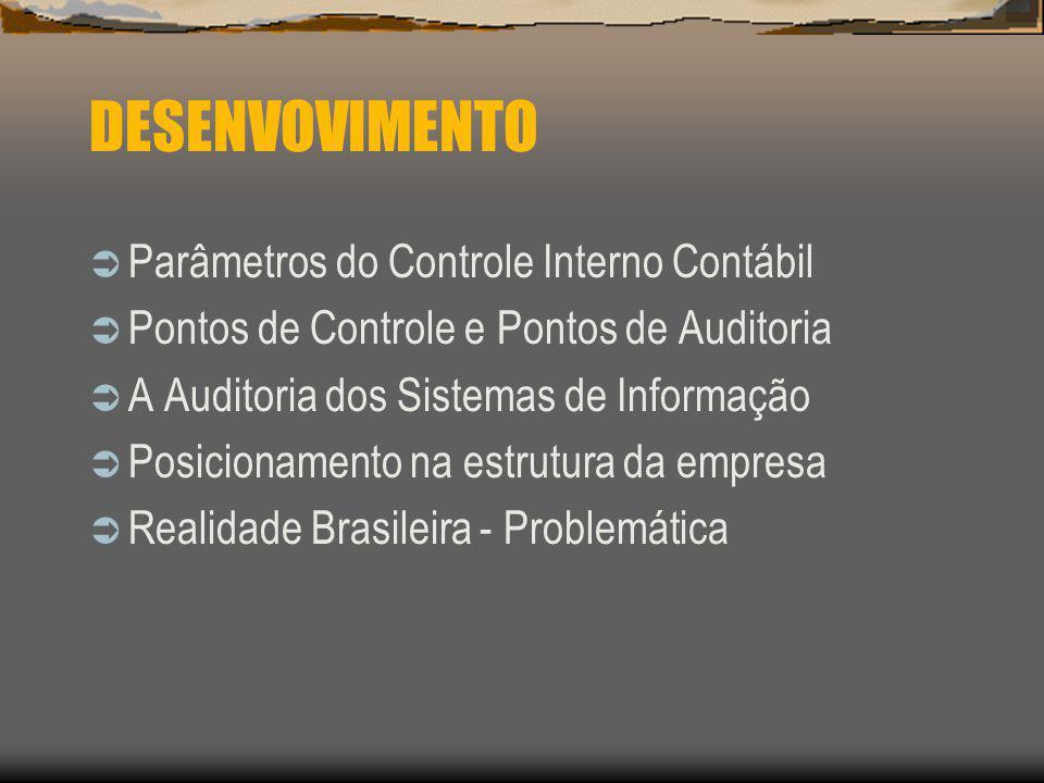 DESENVOVIMENTO Parâmetros do Controle Interno Contábil Pontos de Controle e Pontos de Auditoria A Auditoria dos Sistemas de Informação Posicionamento