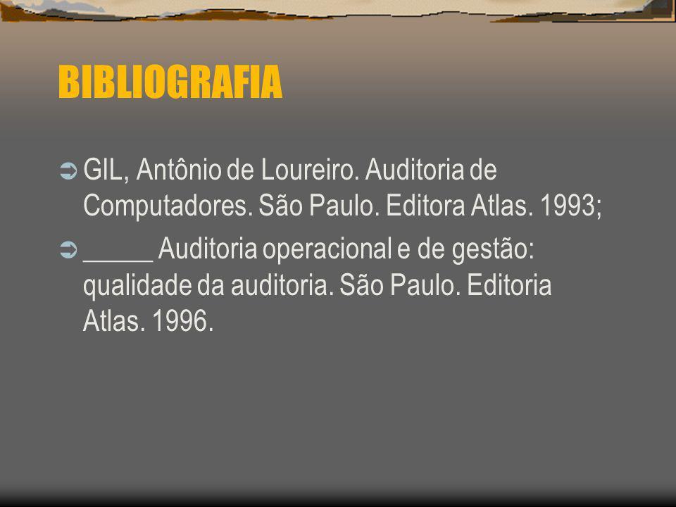 BIBLIOGRAFIA GIL, Antônio de Loureiro. Auditoria de Computadores. São Paulo. Editora Atlas. 1993; _____ Auditoria operacional e de gestão: qualidade d