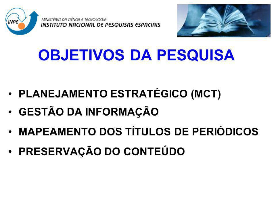 OBJETIVOS DA PESQUISA PLANEJAMENTO ESTRATÉGICO (MCT) GESTÃO DA INFORMAÇÃO MAPEAMENTO DOS TÍTULOS DE PERIÓDICOS PRESERVAÇÃO DO CONTEÚDO