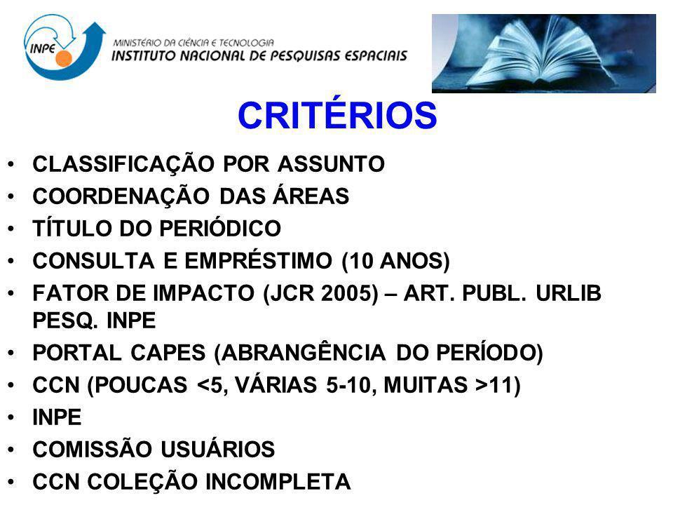CRITÉRIOS CLASSIFICAÇÃO POR ASSUNTO COORDENAÇÃO DAS ÁREAS TÍTULO DO PERIÓDICO CONSULTA E EMPRÉSTIMO (10 ANOS) FATOR DE IMPACTO (JCR 2005) – ART. PUBL.