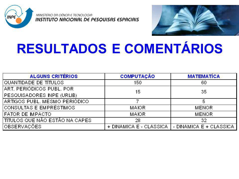 RESULTADOS E COMENTÁRIOS