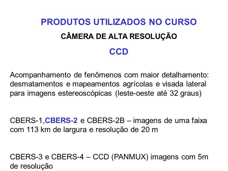 CÂMERA IMAGEADORA DE AMPLO CAMPO DE VISADA WFI Imagens de extensas faixas da superfície do Globo Visão integrada de formações geográficas de grande ex