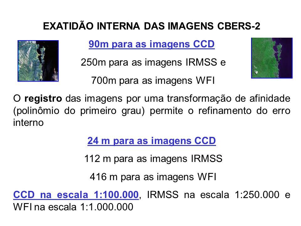 EXATIDÃO DE POSICIONAMENTO DAS IMAGENS CBERS-2 As imagens CBERS-2 podem apresentar um erro de posicionamento de até 10km, o registro das imagens elimi