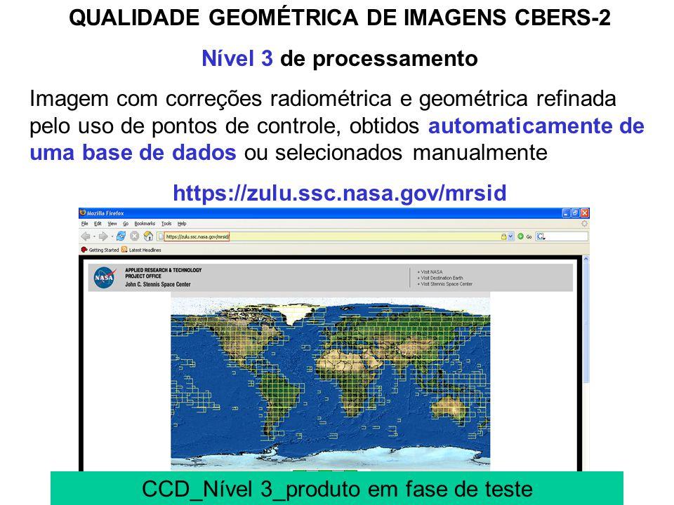 EXATIDÃO INTERNA DAS IMAGENS CBERS-2 90m para as imagens CCD 250m para as imagens IRMSS e 700m para as imagens WFI O registro das imagens por uma tran