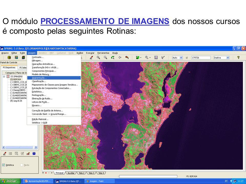 Os alunos são orientados nas atividades de capturar e georreferenciar imagens CBERS, aplicar técnicas de processamento de imagens e gerar mapas temáti
