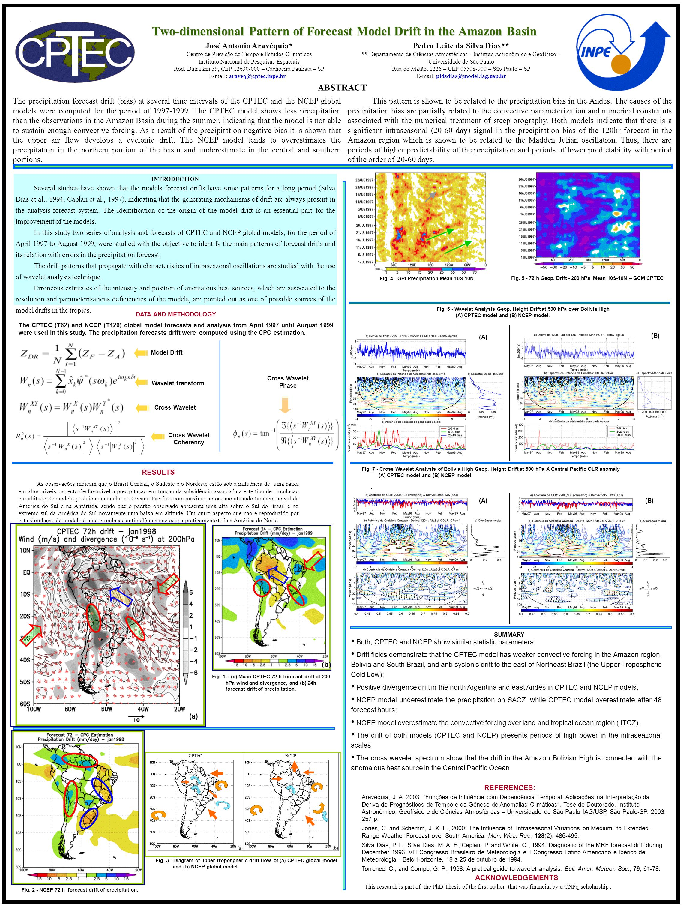 Two-dimensional Pattern of Forecast Model Drift in the Amazon Basin The precipitation forecast drift (bias) at several time intervals of the CPTEC and the NCEP global models were computed for the period of 1997-1999.