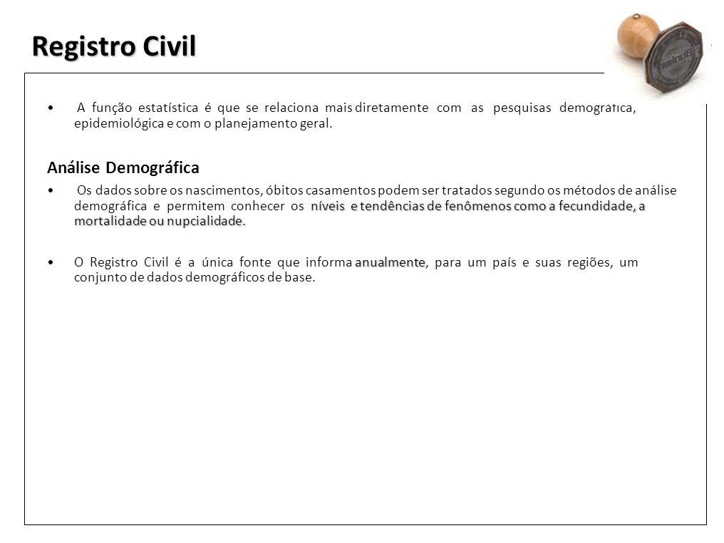 Registro Civil A função estatística é que se relaciona mais diretamente com as pesquisas demográfica, epidemiológica e com o planejamento geral. Análi