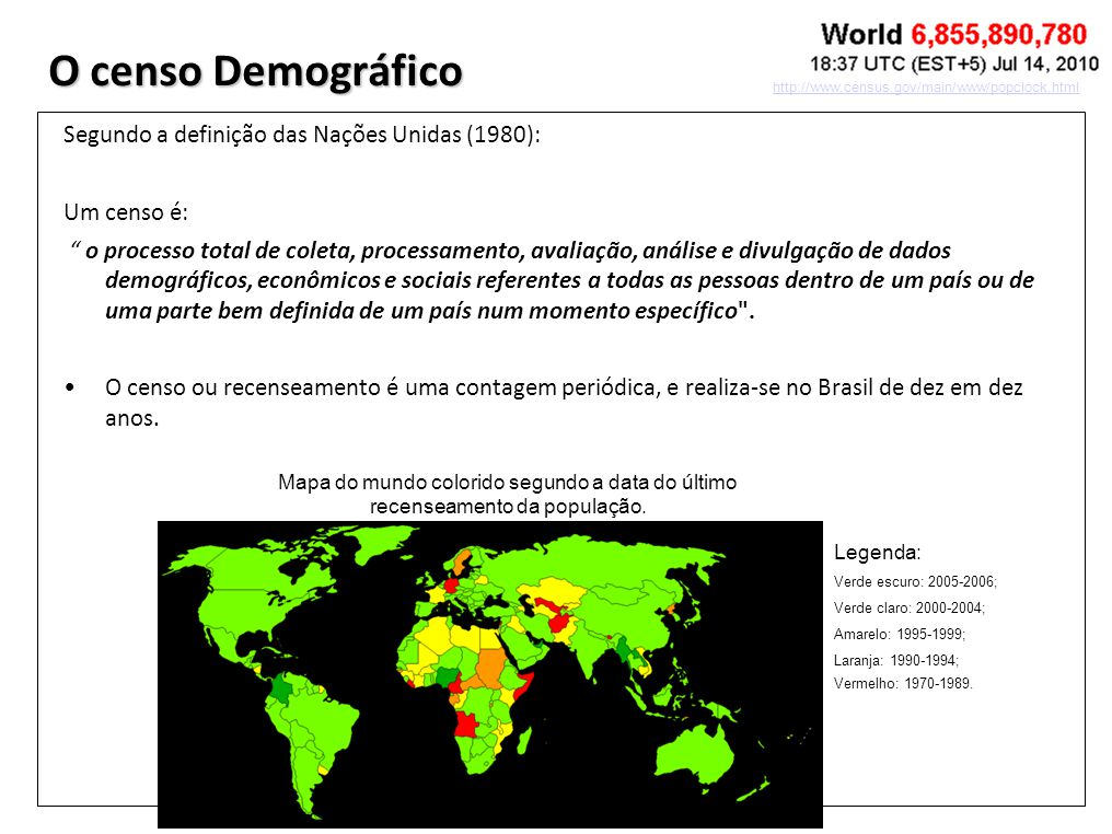 O censo Demográfico Segundo a definição das Nações Unidas (1980): Um censo é: o processo total de coleta, processamento, avaliação, análise e divulgaç