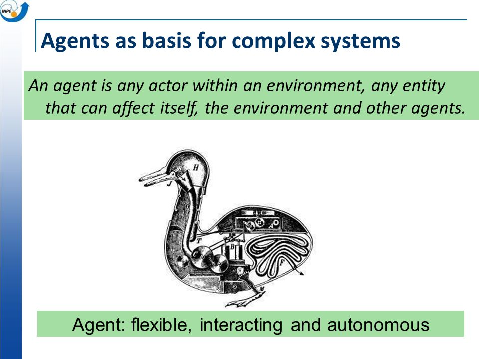 Agents as basis for complex systems Agent: flexible, interacting and autonomous An agent is any actor within an environment, any entity that can affect itself, the environment and other agents.