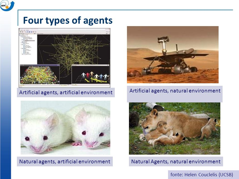 Four types of agents Natural agents, artificial environment Artificial agents, artificial environment Artificial agents, natural environment Natural Agents, natural environment fonte: Helen Couclelis (UCSB)