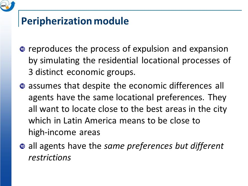 Peripherization module reproduces the process of expulsion and expansion by simulating the residential locational processes of 3 distinct economic groups.