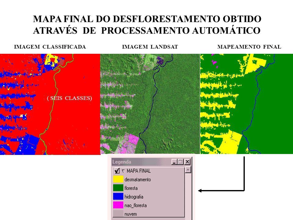 IMAGEM CLASSIFICADAIMAGEM LANDSATMAPEAMENTO FINAL MAPA FINAL DO DESFLORESTAMENTO OBTIDO ATRAVÉS DE PROCESSAMENTO AUTOMÁTICO ( SEIS CLASSES)
