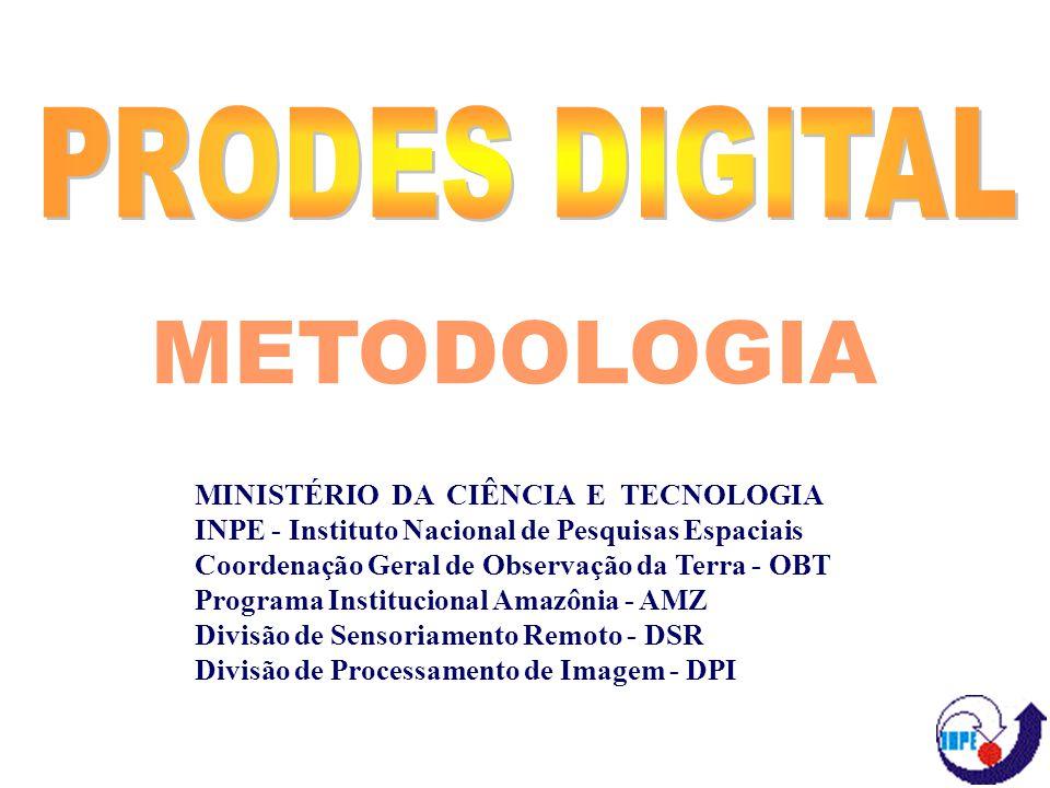 MINISTÉRIO DA CIÊNCIA E TECNOLOGIA INPE - Instituto Nacional de Pesquisas Espaciais Coordenação Geral de Observação da Terra - OBT Programa Institucional Amazônia - AMZ Divisão de Sensoriamento Remoto - DSR Divisão de Processamento de Imagem - DPI METODOLOGIA