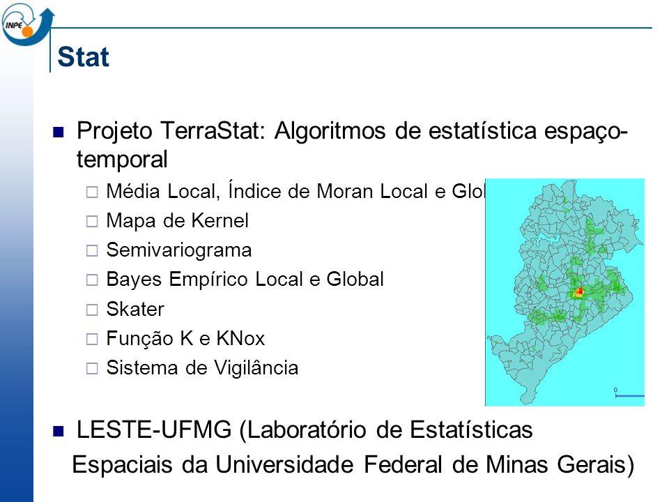 Stat Projeto TerraStat: Algoritmos de estatística espaço- temporal Média Local, Índice de Moran Local e Global, G e GStar Mapa de Kernel Semivariograma Bayes Empírico Local e Global Skater Função K e KNox Sistema de Vigilância LESTE-UFMG (Laboratório de Estatísticas Espaciais da Universidade Federal de Minas Gerais)