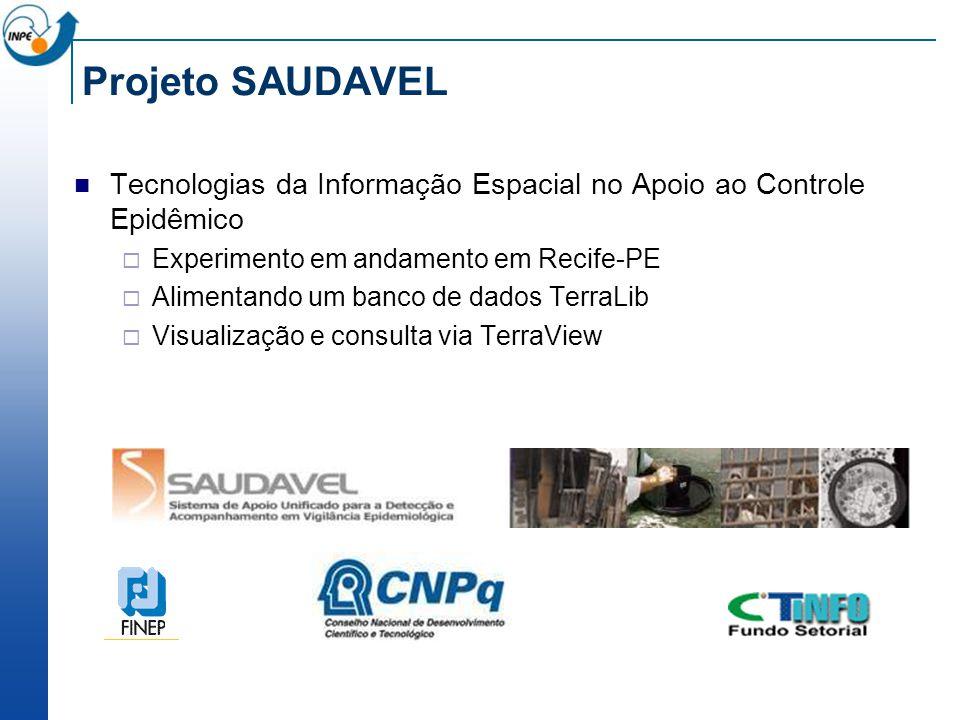 Projeto SAUDAVEL Tecnologias da Informação Espacial no Apoio ao Controle Epidêmico Experimento em andamento em Recife-PE Alimentando um banco de dados TerraLib Visualização e consulta via TerraView