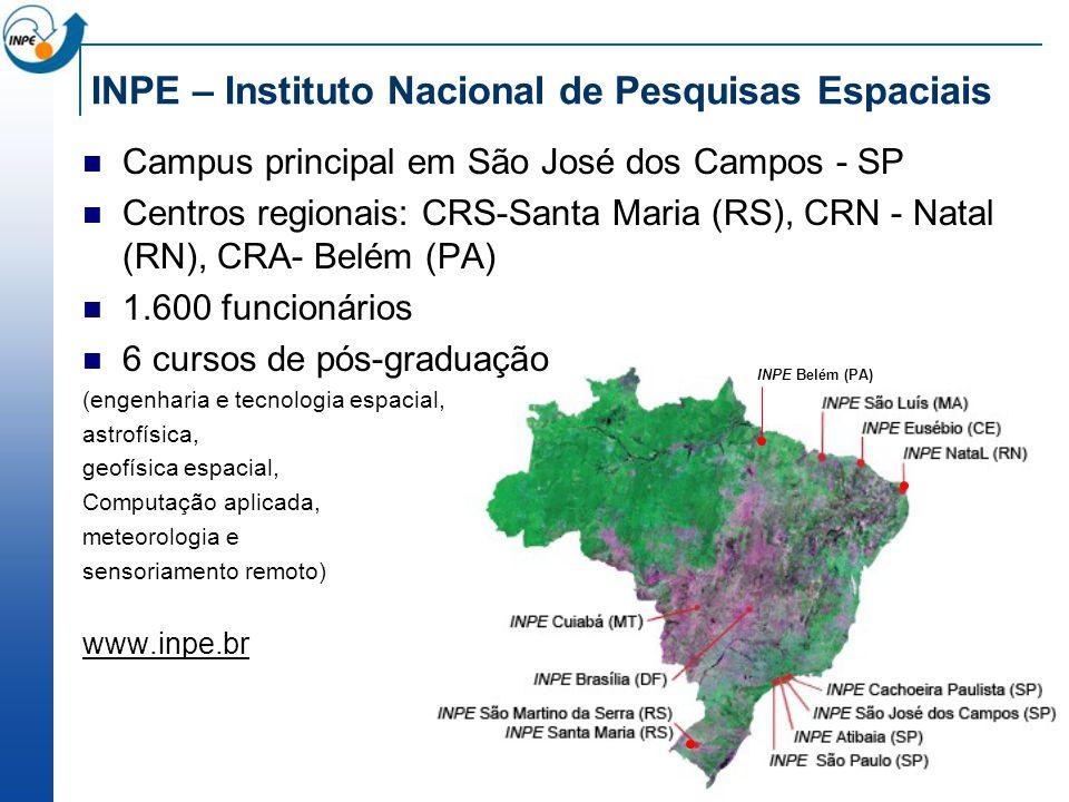 INPE – Instituto Nacional de Pesquisas Espaciais Campus principal em São José dos Campos - SP Centros regionais: CRS-Santa Maria (RS), CRN - Natal (RN), CRA- Belém (PA) 1.600 funcionários 6 cursos de pós-graduação (engenharia e tecnologia espacial, astrofísica, geofísica espacial, Computação aplicada, meteorologia e sensoriamento remoto) www.inpe.br INPE Belém (PA)