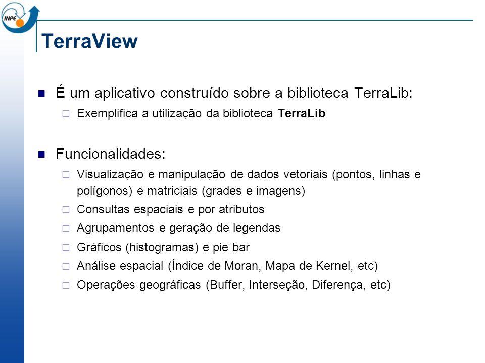 TerraView É um aplicativo construído sobre a biblioteca TerraLib: Exemplifica a utilização da biblioteca TerraLib Funcionalidades: Visualização e mani