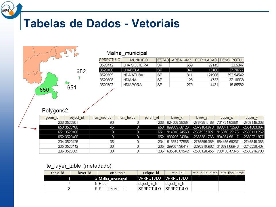 Tabelas de Dados - Vetoriais Polygons2 650 651 652 te_layer_table (metadado) Malha_municipal