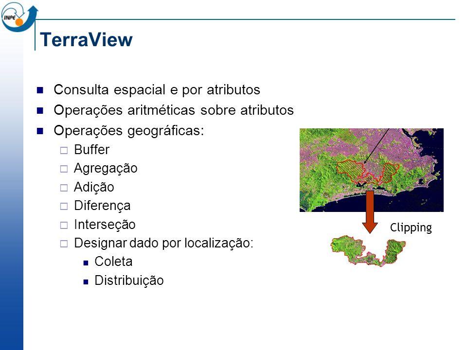 TerraView Consulta espacial e por atributos Operações aritméticas sobre atributos Operações geográficas: Buffer Agregação Adição Diferença Interseção Designar dado por localização: Coleta Distribuição Clipping