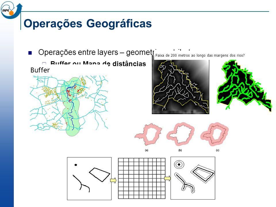 Operações Geográficas Operações entre layers – geometria e atributos Buffer ou Mapa de distâncias Faixa de 200 metros ao longo das margens dos rios.