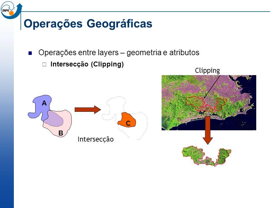 Operações Geográficas Operações entre layers – geometria e atributos Intersecção (Clipping) Clipping A B A B C Intersecção