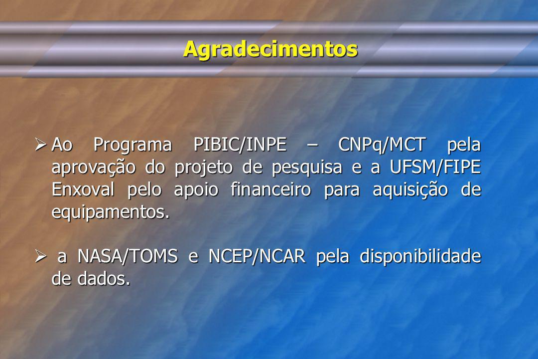 Agradecimentos Ao Programa PIBIC/INPE – CNPq/MCT pela aprovação do projeto de pesquisa e a UFSM/FIPE Enxoval pelo apoio financeiro para aquisição de e