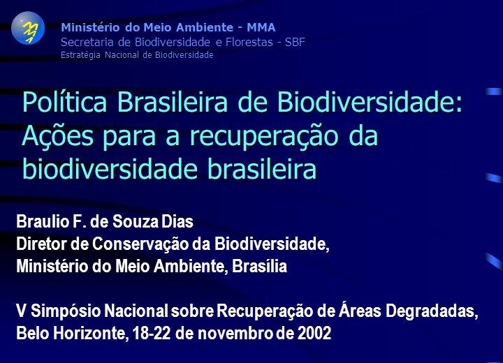 Ministério do Meio Ambiente - MMA Secretaria de Biodiversidade e Florestas - SBF Estratégia Nacional de Biodiversidade Política Brasileira de Biodiversidade: Ações para a recuperação da biodiversidade brasileira Braulio F.