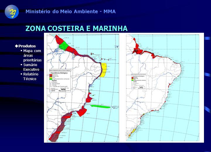 MATA ATLÂNTICA E CAMPOS SULINOS 192 áreas prioritárias: 187 na Mata Atlântica 5 nos Campos Sulinos 30% da Mata Atlântica e Campos Sulinos