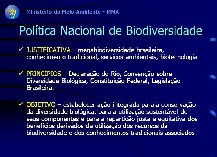 Ministério do Meio Ambiente - MMA Política Nacional de Biodiversidade JUSTIFICATIVA – megabiodiversidade brasileira, conhecimento tradicional, serviços ambientais, biotecnologia PRINCÍPIOS – Declaração do Rio, Convenção sobre Diversidade Biológica, Constituição Federal, Legislação Brasileira.