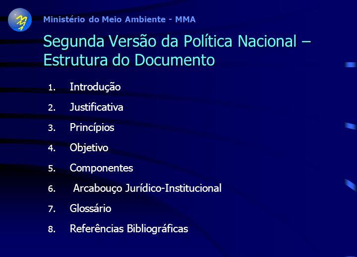 Ministério do Meio Ambiente - MMA Número de Componentes, Diretrizes e Objetivos Específicos da Política Nacional Primeira Versão da Política Nacional